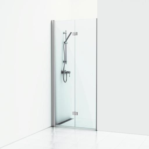 Svedbergs Forsa venstrehengt foldedør 80 cm, Klart glass/Blank alu profil