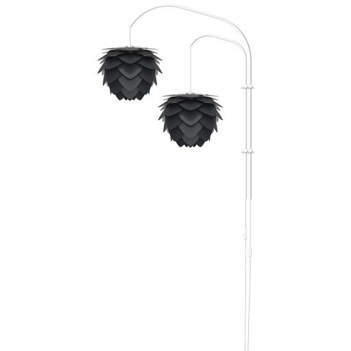 UMAGE Aluvia Mini Double Vegglampe med hvitt stativ, Antrasit