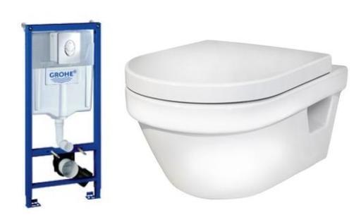 Komplet pakke m/GROHE sisterne, Gustavsberg Hygienic Flush hengeskål u/skyllekant & Soft Close sete