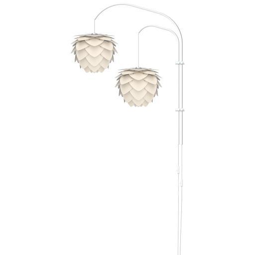 UMAGE Aluvia Mini Double Vegglampe med hvitt stativ, Perlemor