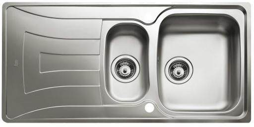 Intra Universo UNI150D Kjøkkenvask 100x50 cm, m/Kurvventil, Rustfritt stål