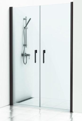 Svedbergs Forsa nisje 110 cm med 2 dører, Røykfarget glass & blanke alu profiler