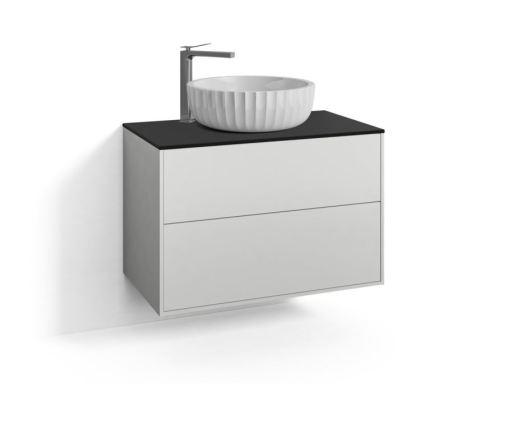 Svedbergs DK Møbelpakke, 80 cm, m/Fyn Ovenpåliggende Servant & 2 skuffer - Hvit
