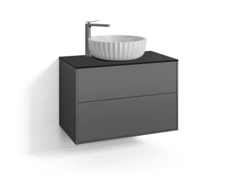 Svedbergs DK Møbelpakke, b:80 cm, m/Fyn Ovenpåliggende Servant & 2 skuffer - Skifergrå