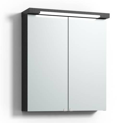 Svedbergs Top-line speilskap med LED-belysning i topp & bunn, 60 cm, Sort eik