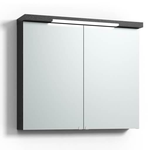 Svedbergs Top-line speilskap med LED-belysning i topp & bunn, 80 cm, Sort eik