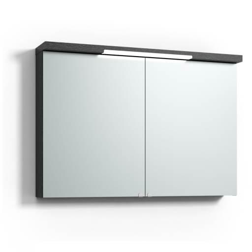 Svedbergs Top-line speilskap med LED-belysning i topp & bunn, 100 cm, Sort eik
