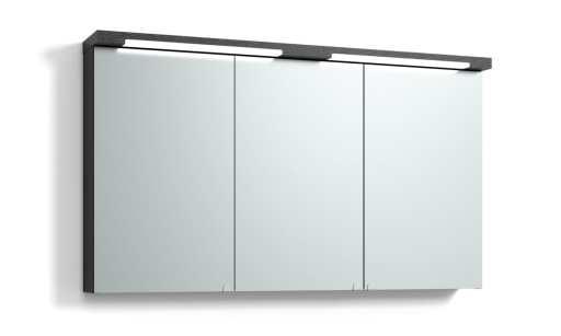 Svedbergs Top-line speilskap med LED-belysning i topp & bunn, 120 cm, Sort eik
