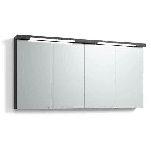 Svedbergs Top-line speilskap med LED-belysning i topp & bunn, 140 cm, Sort eik