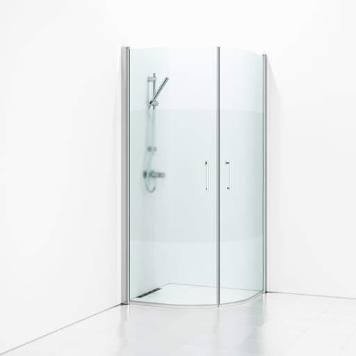 Svedbergs Forsa halvrundt Dusjhjørne, 90x90 cm - Halvfrost glass/Alu matt profil