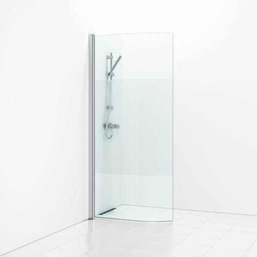 Svedbergs Forsa Dusjvegg, buet, 90 cm - Halvfrosset glass & matt alu profil