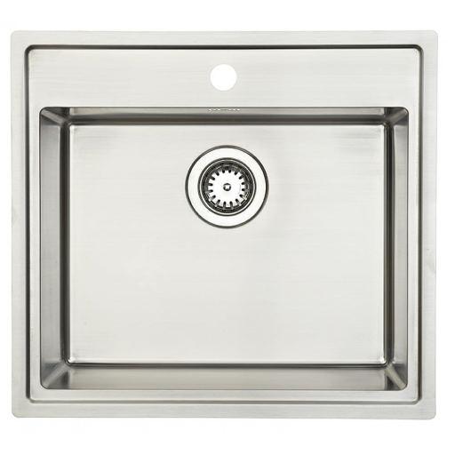 Lavabo Lotus 60 Kjøkkenvask 56x51 cm, m/Kurvventil, Rustfritt stål