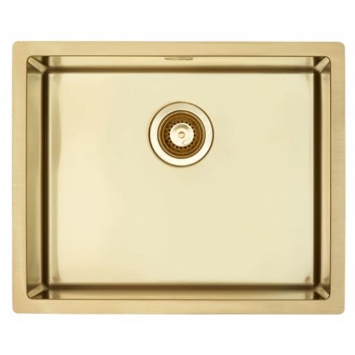 Lavabo Quadrix Kjøkkenvask 55x45 cm, m/Kurvventil, Gull/Messing look