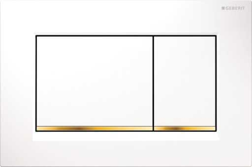 Geberit Betjeningsplate Sigma 30, Hvit/gull/hvit