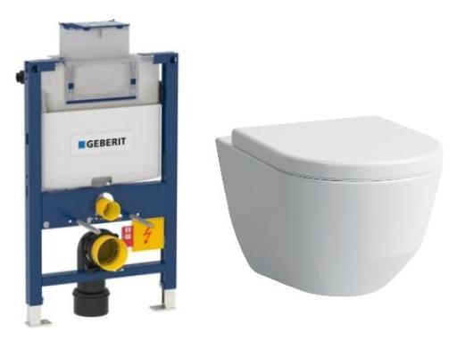Köp Komplett paket m/Geberit Omega 82 cm cistern, Laufen Pro 3 toalett och softclose sits - utan tryckknapp