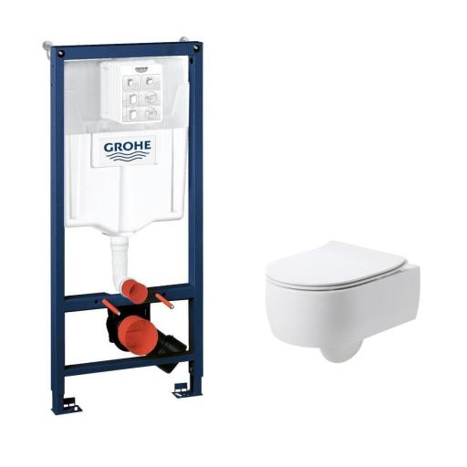 Köp Vägghängt paket med Lavabo Flo vägghängd toalett, slim toalettsits med soft close & Grohe cistern