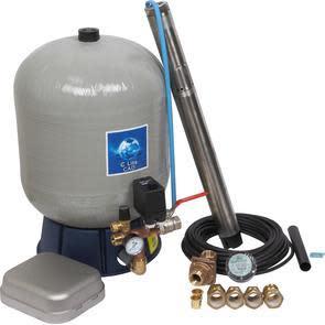 """Köp Komplett 3"""" pumppaket inkl. SQE2-55 pump och glasfiberarmerad tank - Pumpdjup: 30 m"""