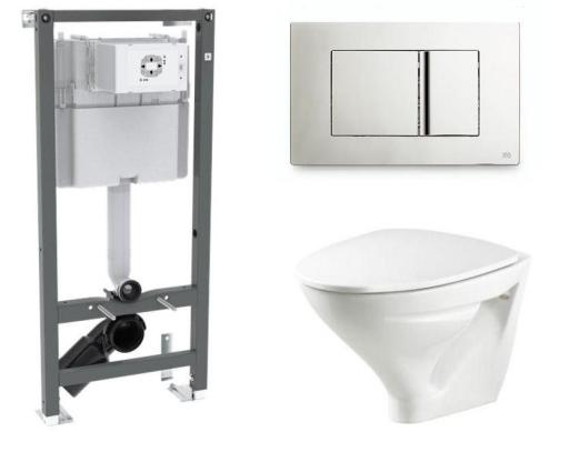 Köp Ifö vägghängt paket med Ifö Sign toalettskål, cistern och tryckknapp