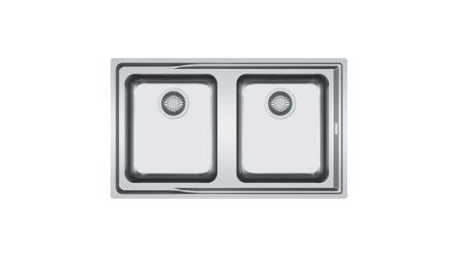 Köp Franke Aton ANX 220 diskbänk i rostfritt stål med 2 hoar, 86,4x51,4 cm