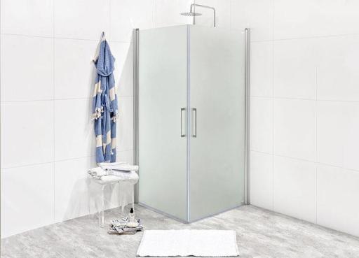 Köp Noro Fix Trend C 88 duschhörn 80x80 cm, m/silvermatta profiler och frostat glas