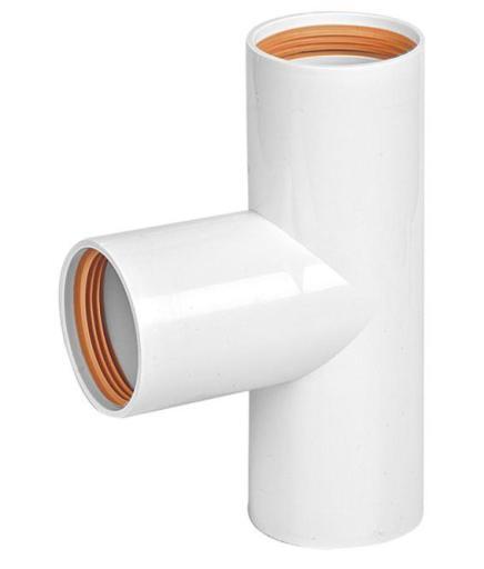 Köp T-rör 40 mm x 90° med gummitätning - vit