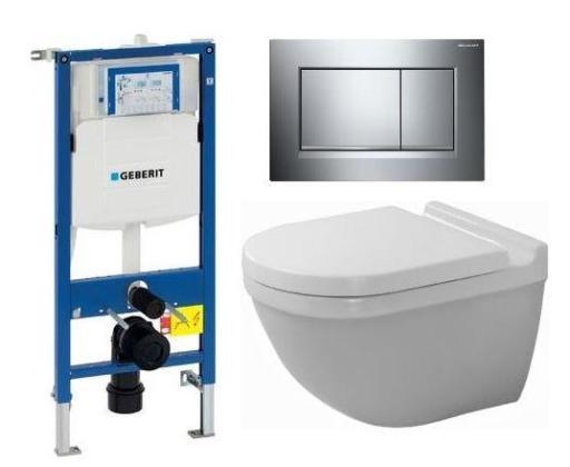 Köp Komplett paket med Duravit Starck 3 väggskål och Geberit Sigma inbyggningscistern m/spolknapp
