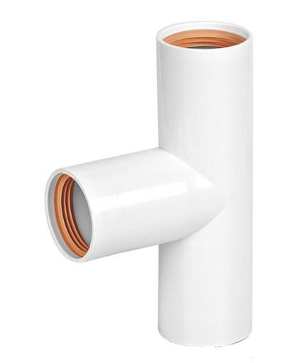 Köp T-rör 32 mm x 90° med gummitätning - vit