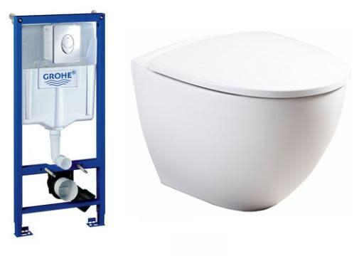 Köp Komplett paket m/GROHE Cistern, tryckknapp, Ifö Sign Art vägghängd WC & Soft Close Sits