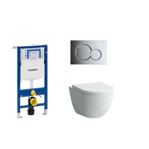 Komplett Pakke m/Geberit sisterne & Sigma01 Betjeningsplate, Laufen Pro Vegghengt Toalett & Soft Close Sete