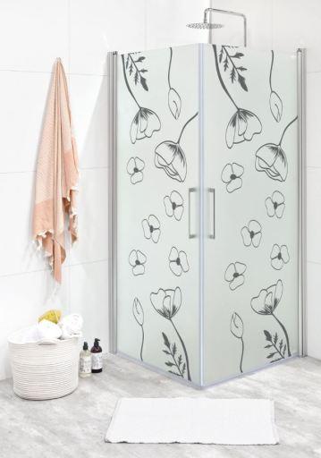 Köp Noro Fix Trend duschhörn, silvermatta profiler, mönstrat glas (Vallmo) - 80x80 cm
