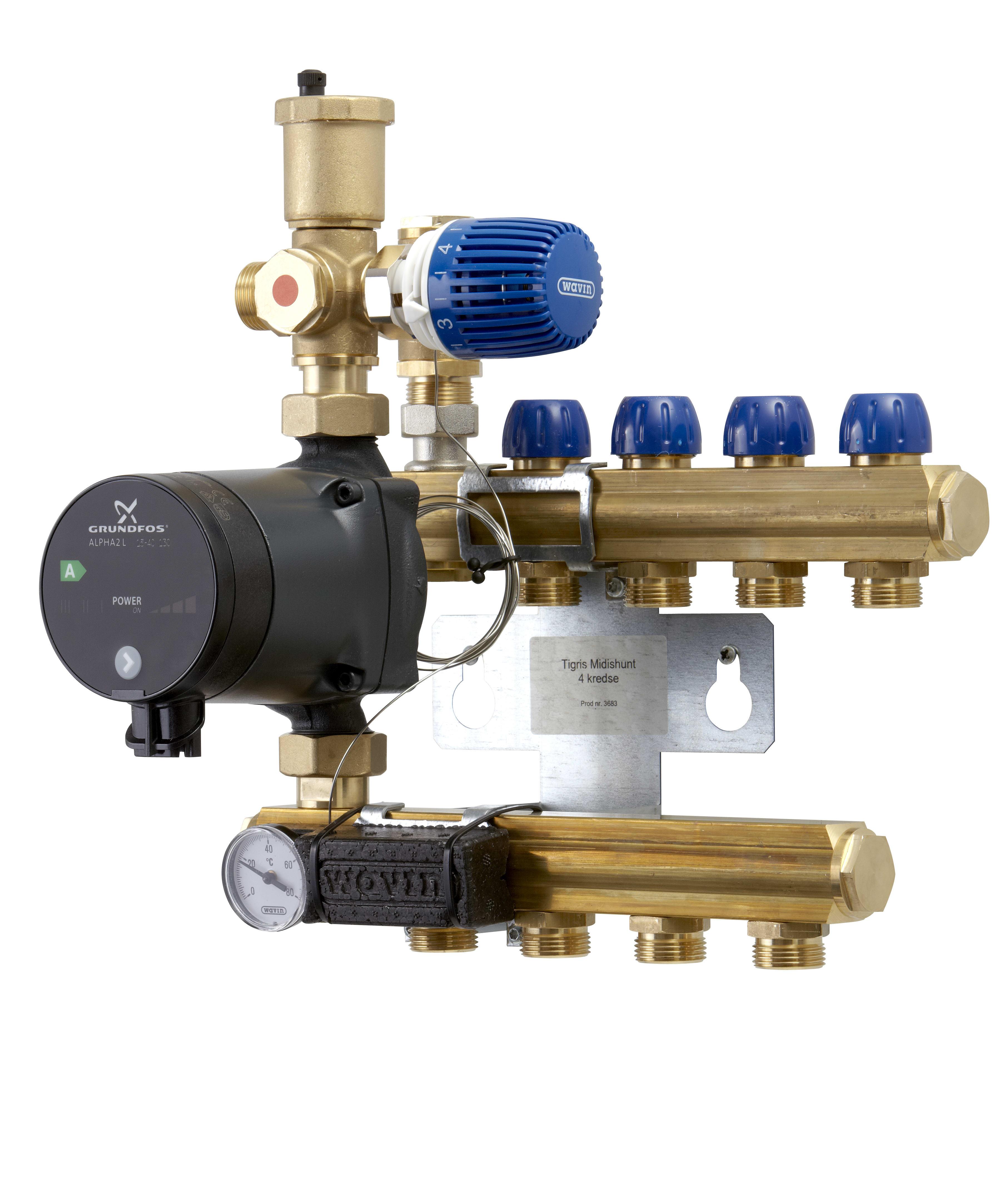 Fantastisk Køb Wavin Tigris midishunt 5-kredse m. AlphaL 15-40 pumpe 466221555 DK53