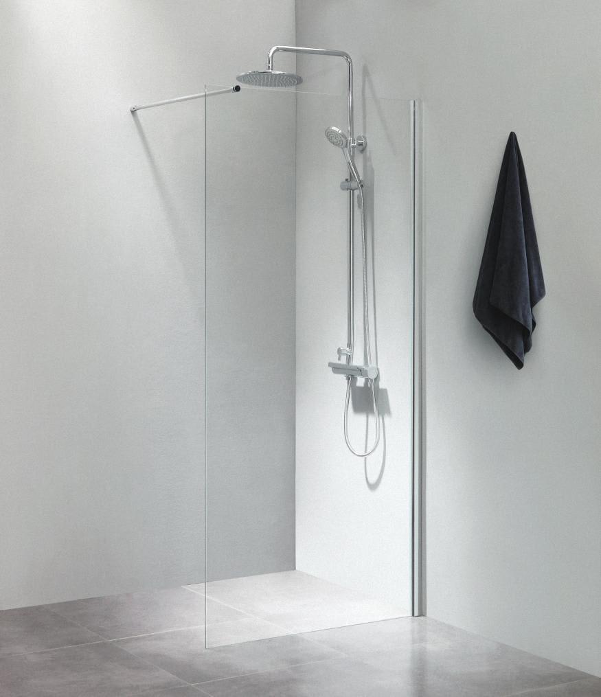 brusevæg 70 cm Køb Dusch Brusevæg 70 cm m/Forhængsstang 100 cm, Klart Glas/Blank  brusevæg 70 cm