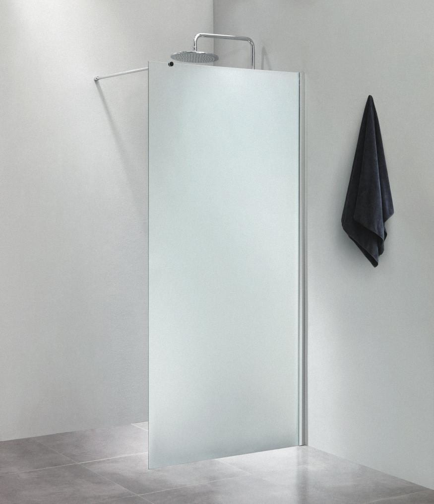 brusevæg 70 cm Køb Dusch Brusevæg 70 cm m/Forhængsstang 100 cm, Frostet glas  brusevæg 70 cm