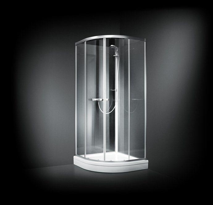 brusekabine 90x90 Køb Dansani BASE Halvrund brusekabine 90x90 cm, Frostet glas/Blank  brusekabine 90x90