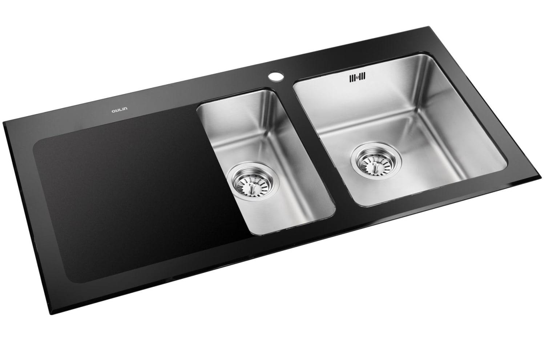 sort køkkenvask Køb Cub køkkenvask 100 x 50,6 cm i rustfrit stål/sort hærdet glas  sort køkkenvask