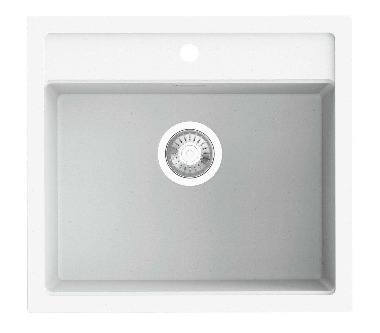 hvid køkkenvask Køb Cub køkkenvask 56 x 51 cm i hvid granitek AE560510LOW hvid køkkenvask