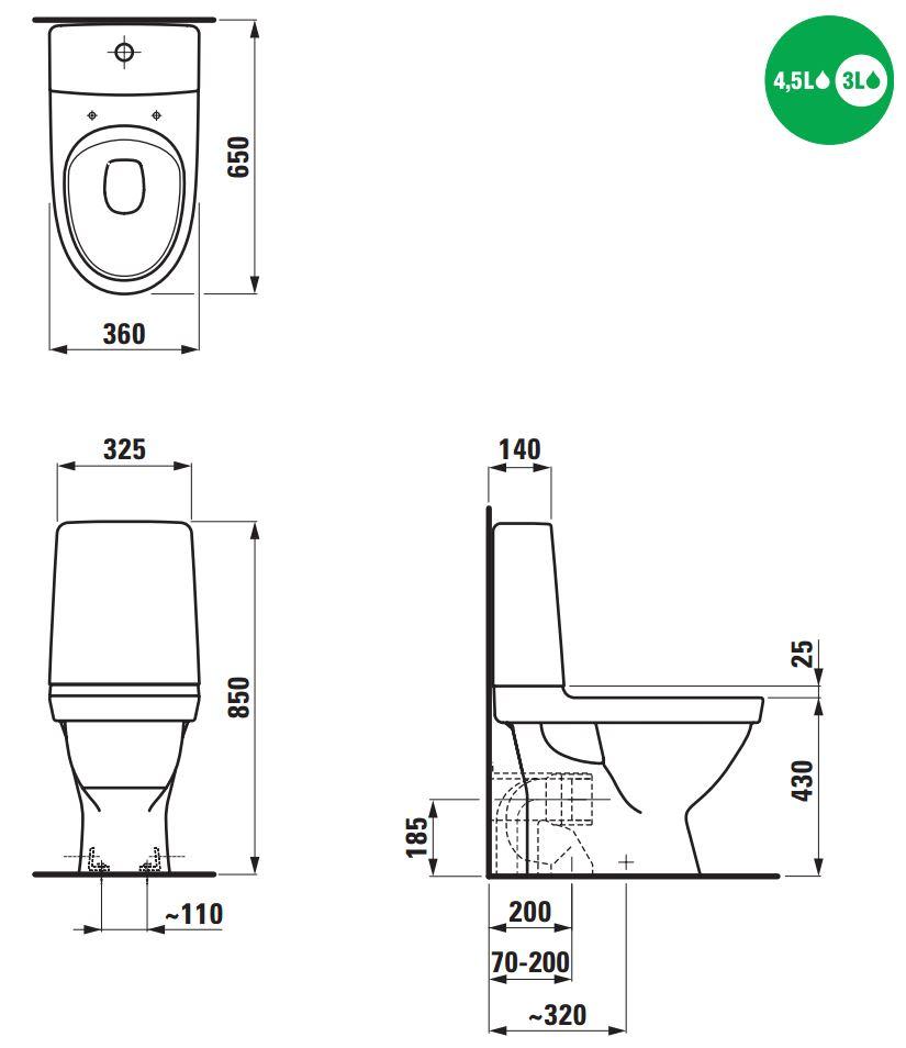 Moderne Køb Laufen Kompas toilet m/P-lås, skruemontering, hvid 604062200 VA-72