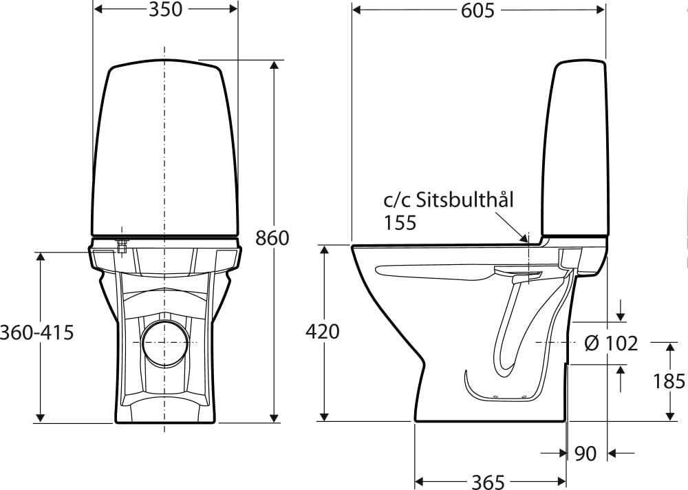 Meget Køb Ifö Sign toilet kort model med P-lås og rengøringsvenlig RW69