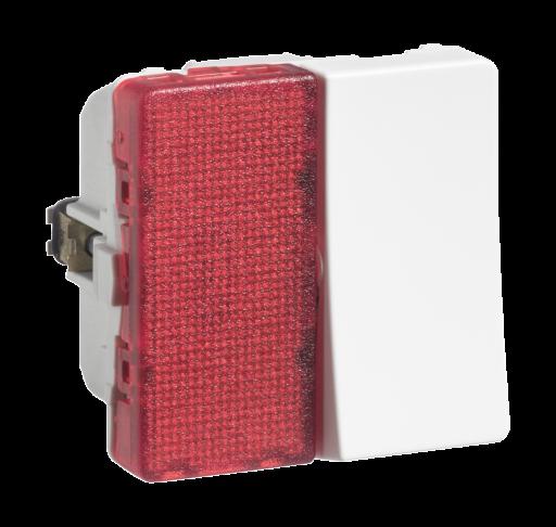Billede af LK FUGA afbryder 1-pol med rød lampe, 1 modul - hvid
