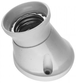 Plast fatning - Vægmontering vinklet-Hvid thumbnail