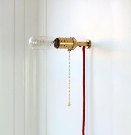 Billede af Retro Messing Væglampe-Træk-afbryder