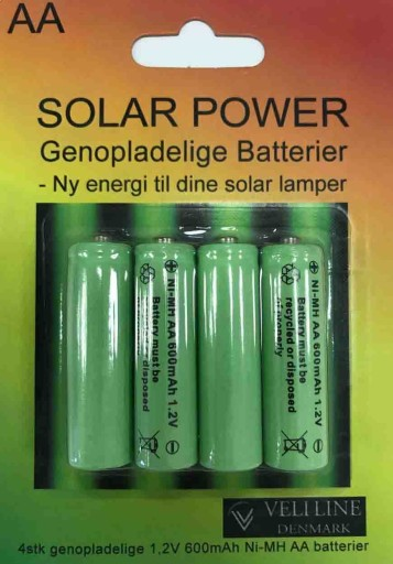 Veli Line 4 x AA genopladelige batterier til solcellelamper thumbnail