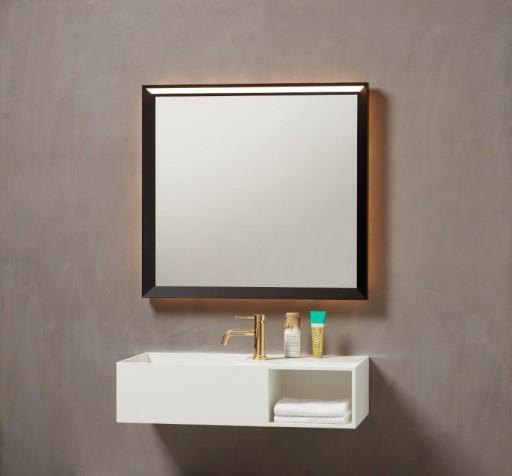 Køb Loevschall Verona spejl m/sort ramme & touch panel – 80 x 75 cm