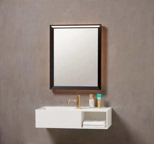 Køb Loevschall Verona spejl m/sort ramme & touch panel – 60 x 75 cm
