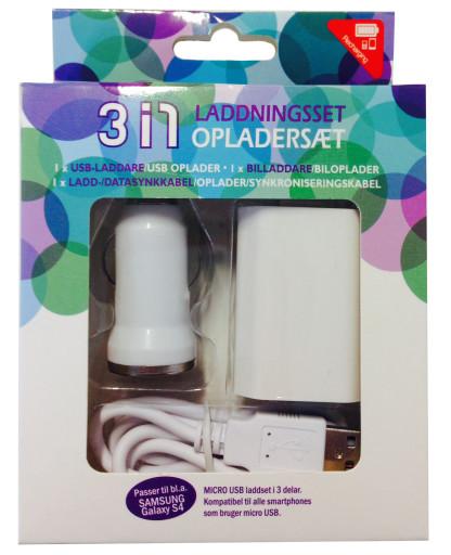 3i1 oplader Micro USB