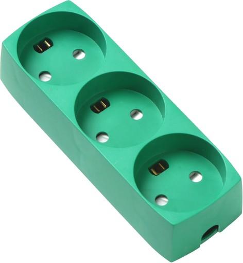 Slagfast stikdåse med 3 udtag m/jord u/ledning
