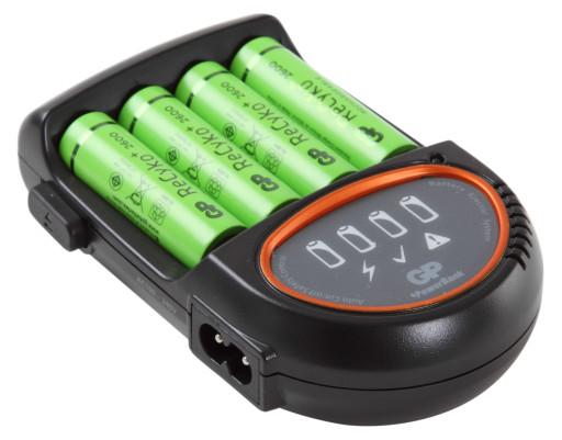 GP H500 Batterioplader med 4xAA batterier