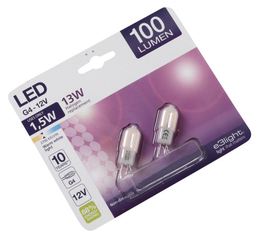 e3light G4 LED pære 1,5W 2 pak