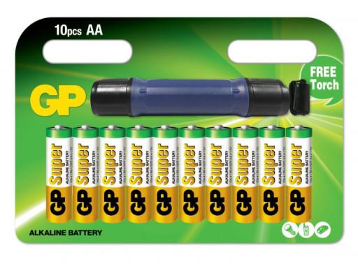 GP Super Alkaline 10 stk. AA batterier med lommelygte