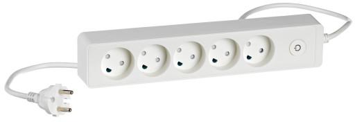 LK design stikdåse med 5 udtag u/jord m/ledning